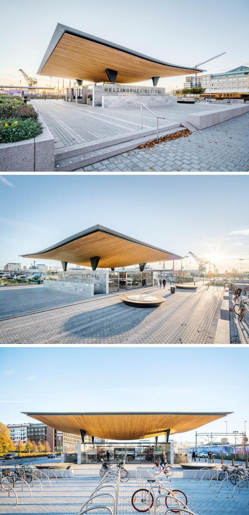 Уникальный проект железнодорожного вокзала Хельсингборга, Швеция: круглые скамейки и велопарковка
