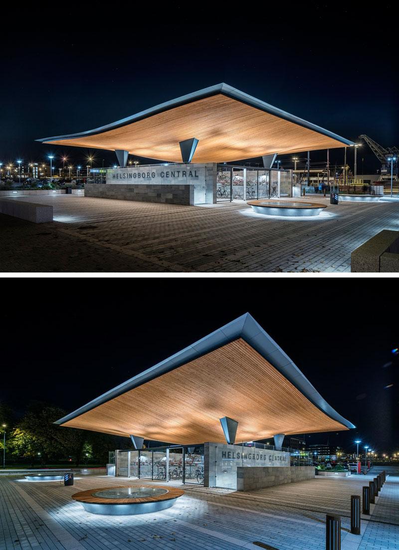 Уникальный проект железнодорожного вокзала Хельсингборга, Швеция: ночью