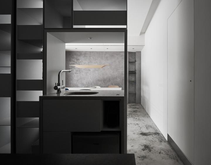 Серый цвет офиса в Тайване: шкаф-кухня