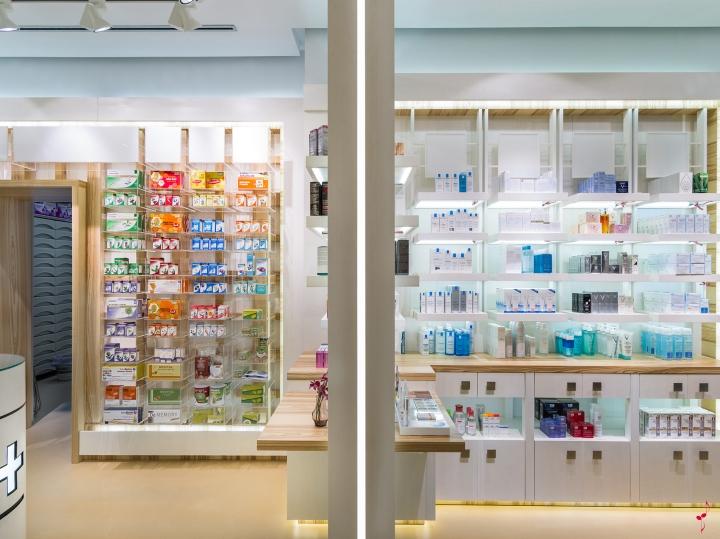 Современный дизайн аптеки: отделения в помещении