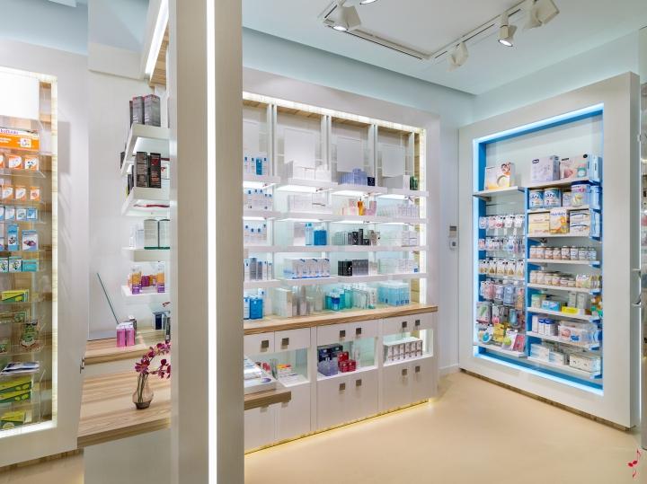 Современный дизайн аптеки: подсветка в различных тонах