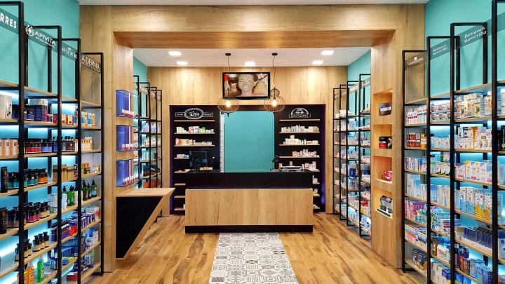 Современный дизайн для аптеки: полоска узорчатого мрамора на полу