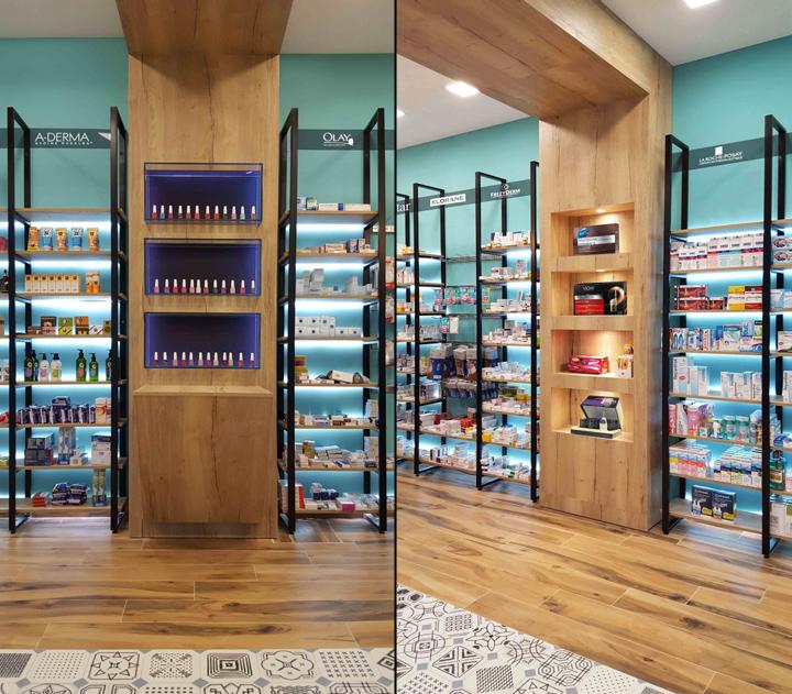 Современный дизайн для аптеки: деревянные секции по бокам