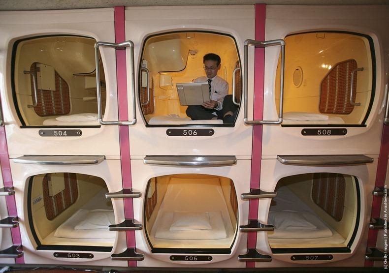 Необычные места для отдыха в офисе: капсулы для сна в Японии