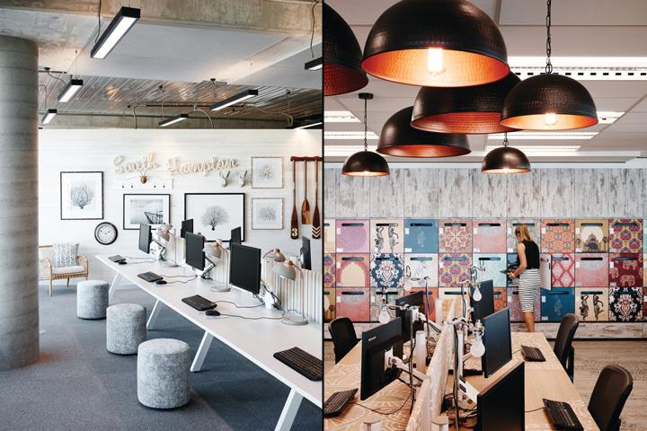 Черные дизайнерские светильники в стильном интерьере офиса