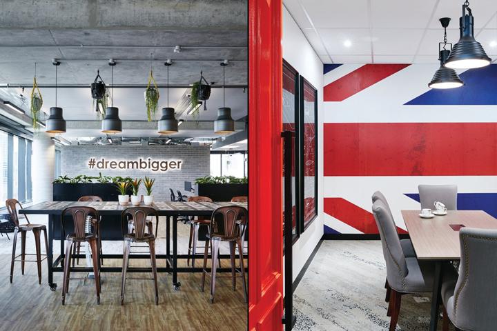 Стильный интерьер офиса - кухня в индустриальном стиле с промышленными светильниками