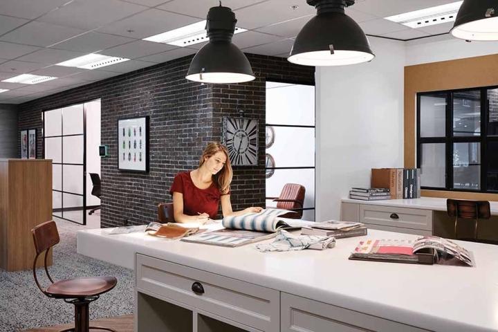 Темная кирпичная стена и промышленные светильники - стильные элементы декора в интерьере офиса
