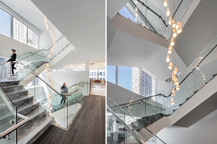 Стильный интерьер офиса: лестница с мраморными степенями
