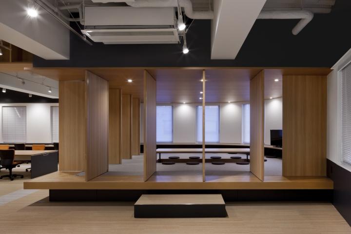 Стильный интерьер современного японского офиса в Токио: комната с вращающимися дверьми
