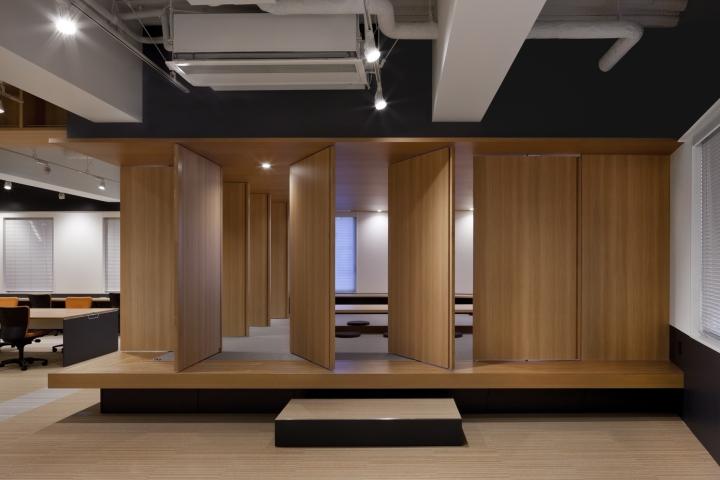 Стильный интерьер современного японского офиса в Токио: вид на приподнятую комнату