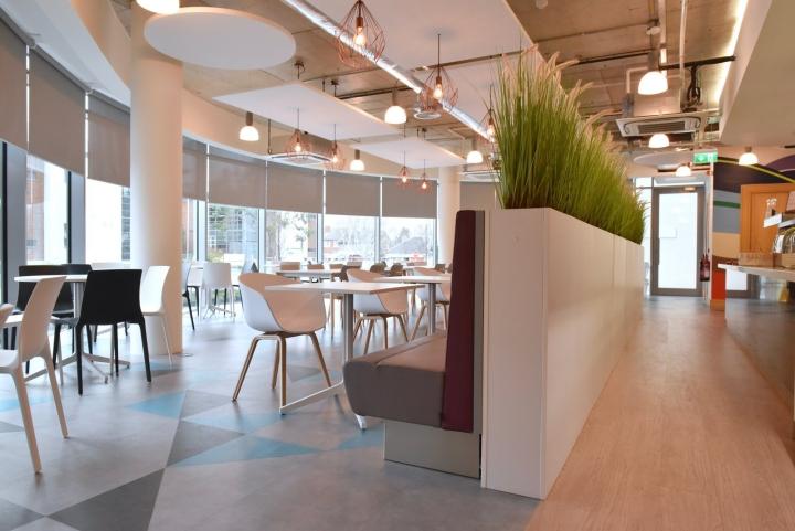 Растения как яркий элемент декора в интерьере светлой столовой для офиса