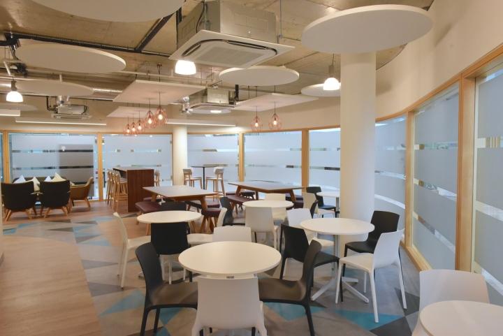 Белый интерьер столовой для офиса - круглые панели на потолке