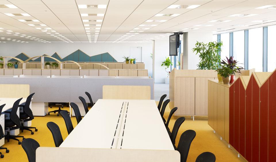 Цвета в интерьере офиса: открытые зоны