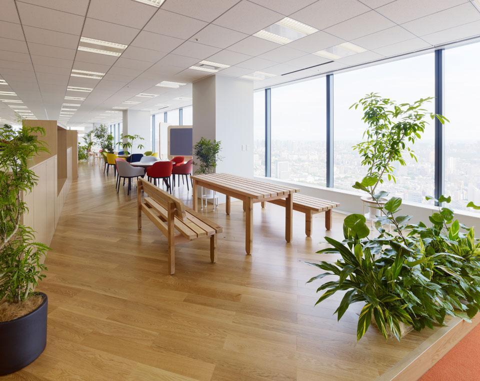 Цвета в интерьере офиса: панорамные окна
