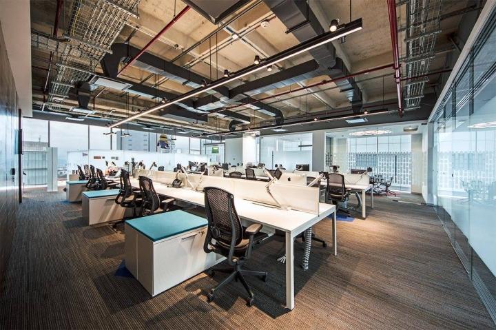 Удобный интерьер офиса EA Games - необычный дизайн потолка