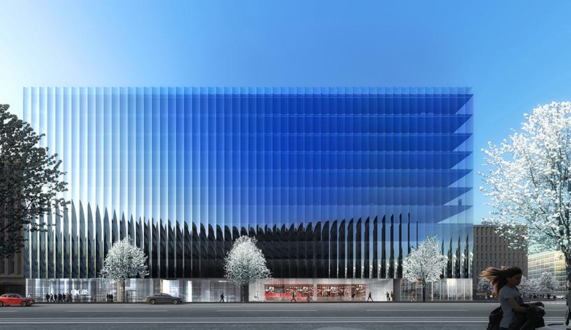 Современное здание со стеклянным фасадом