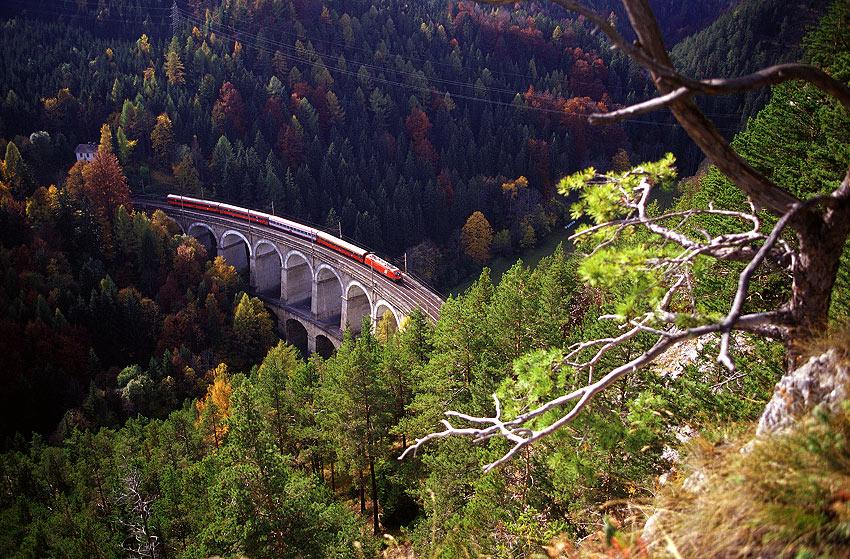 Железная дорога в Альпах: вид сверху